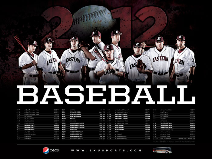 sports graphic design for 2012 EKU baseball poster