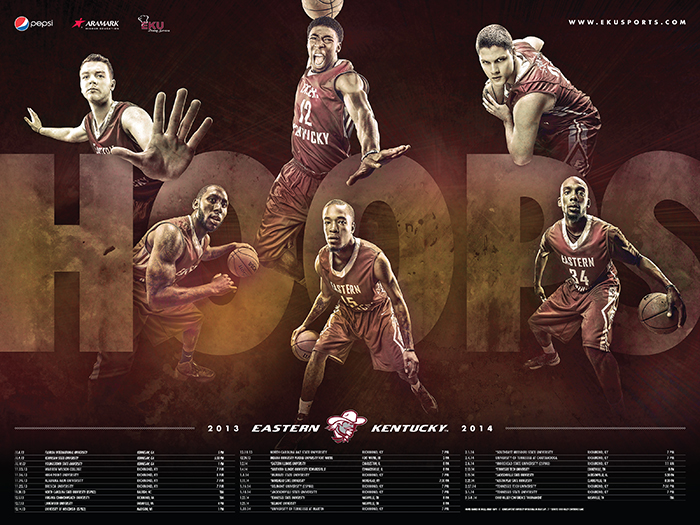 sports graphic design for 2013-14 EKU basketball poster