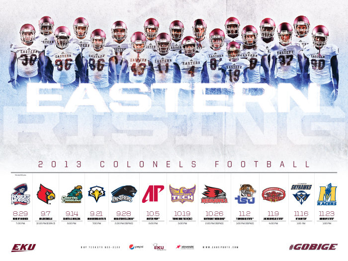 sports graphic design for the 2013 EKU fooball poster