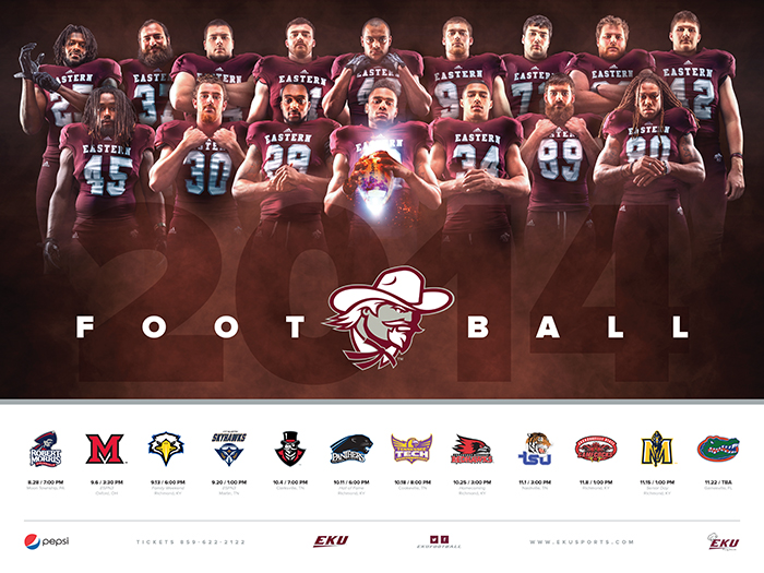 sports graphic design for 2014 EKU football poster